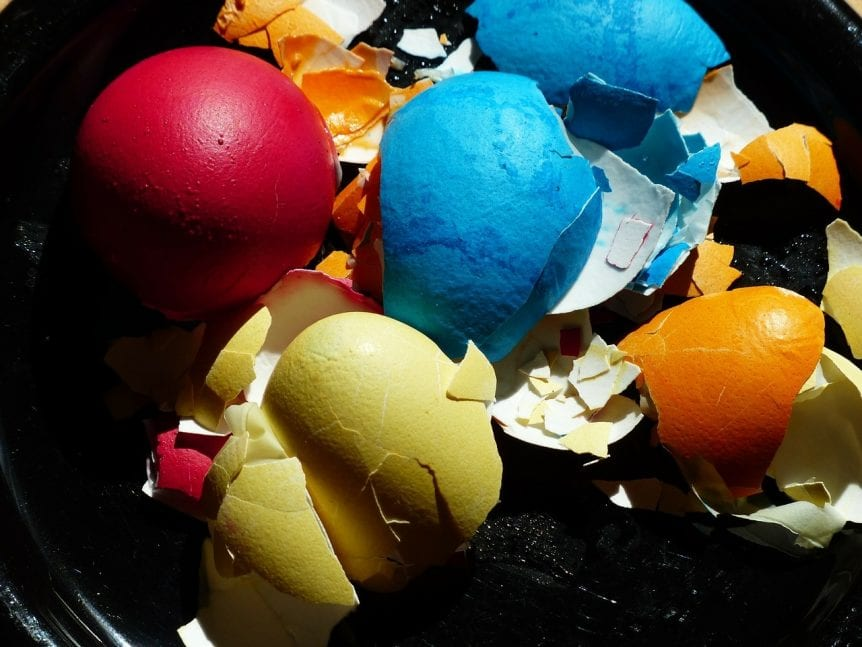 eggshells in different colors