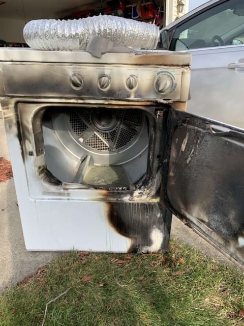 Dryer that has caught fire due to dirty or faulty dryer vents